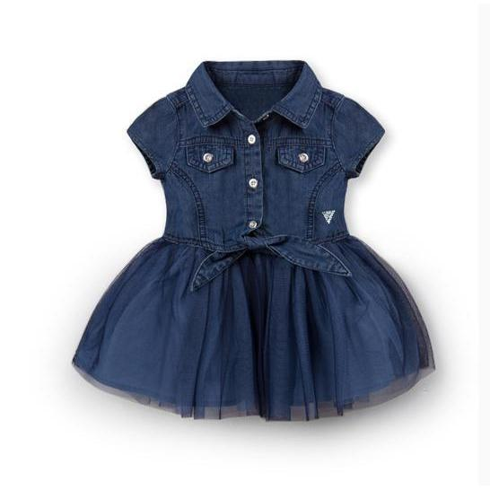 Soft Jean Girl Dress for Birthday, Pageant, Party/ Flower Dress-kid clothing-UAE Cute Stuff