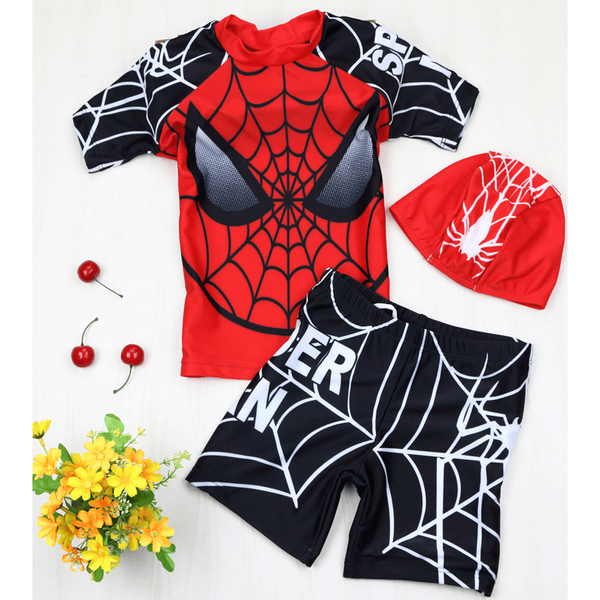 Spiderman Swim Suit~ 2 pieces short sleeves-kid clothing-UAE Cute Stuff