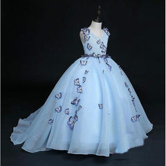 Stunning Butterfly Blue Full Gown Dress for Birthday, Pageant, Party/ Flower Dress-kid clothing-UAE Cute Stuff