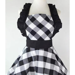 Sultry Apron Black and White-apron-UAE Cute Stuff