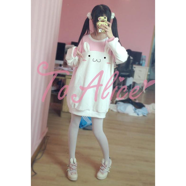 Sweet soft rabbit long-sleeved sweater coat-everyday dress-UAE Cute Stuff