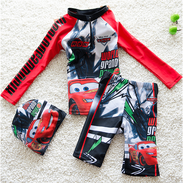 The Cars Boy Swim Suit~2 Pieces long sleeves-kid clothing-UAE Cute Stuff