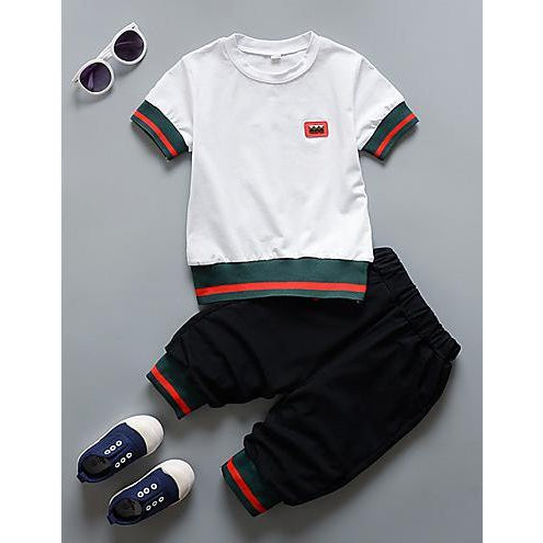 Toddler Boys' Solid Colored Short Sleeve Clothing Set-kid clothing-UAE Cute Stuff