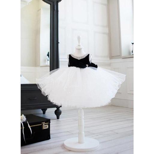 Velvet Black& White Dress for Birthday, Pageant, Party/ Flower Dress-kid clothing-UAE Cute Stuff