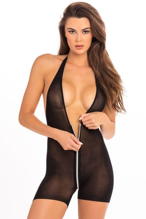 Body teddy zippé noir