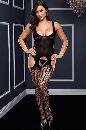 Bodystocking porte-jarretelles opaque OS - Boutique LUV
