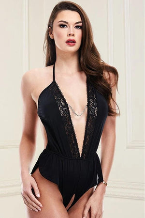 Teddy en satin noir Deep V