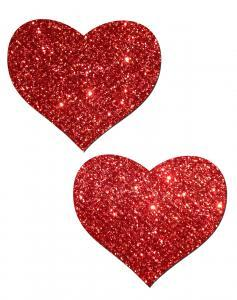Pasties brillantes en forme de cœur - rouge - Boutique LUV