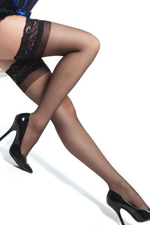 Bas collants avec bande en dentelle stay up - noir - (OS)