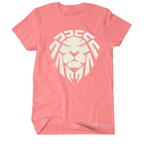 SALMON PINK WITH WHITE LION TEE