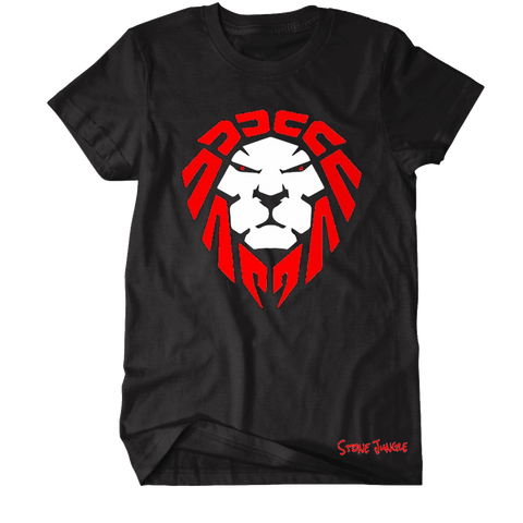 BLACK TEE WITH RED/WHITE LION
