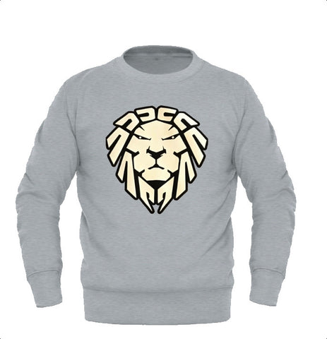 HEATHER GREY SWEATER WITH WHITE LION