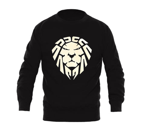 BLACK SWEATER WITH WHITE LION