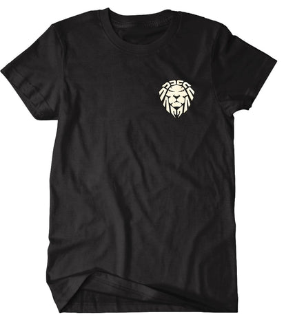BLACK TEE EMBROIDERED LION