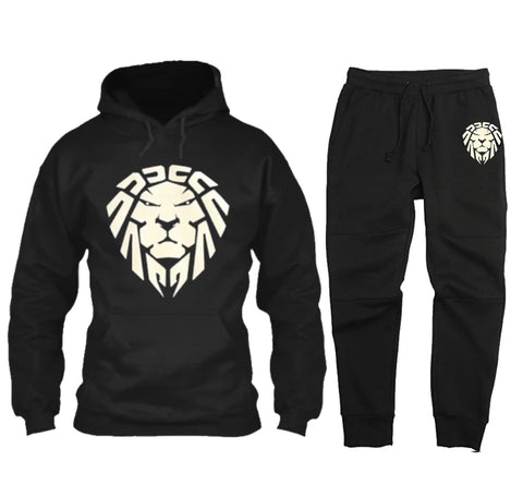 BLACK JOGGER SET WITH WHITE LION