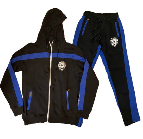 BLACK/ROYAL BLUE WITH WHITE LION STRIPE JOGGER SET