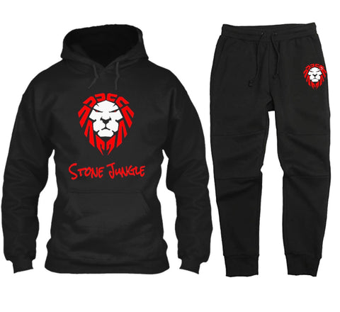 BLACK JOGGER SET WITH RED/WHITE LION