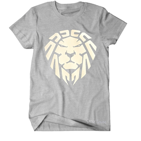 GREY/WHITE LION TEE