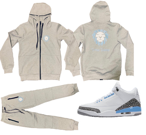 TECH FLEECE GREY SET WITH UNC BLUE/WHITE LION