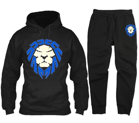 BLACK JOGGER SET WITH GAME ROYAL/WHITE LION