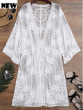 Embroided Sheer Swimsuit Lace Cover Up