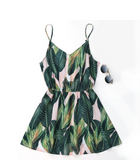 Leaf Printed Beach Dress
