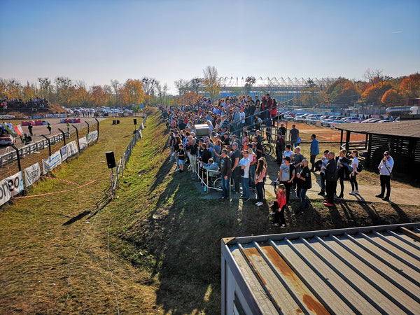 Crowds and spectators on stands at Rallycross event in Torun Poland