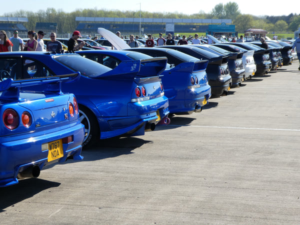 Skyline Rear ends lined up at JapFest Silverstone Circuit