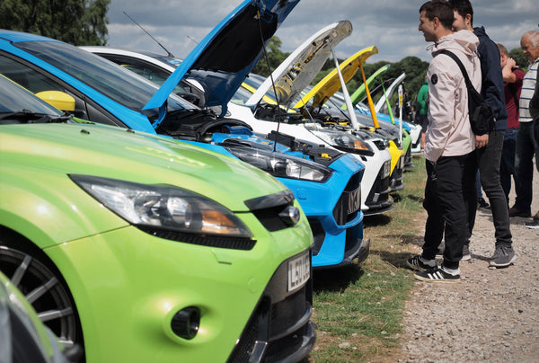 Ford Focus RS Mk2 and Mk3 club display at Oulton Park