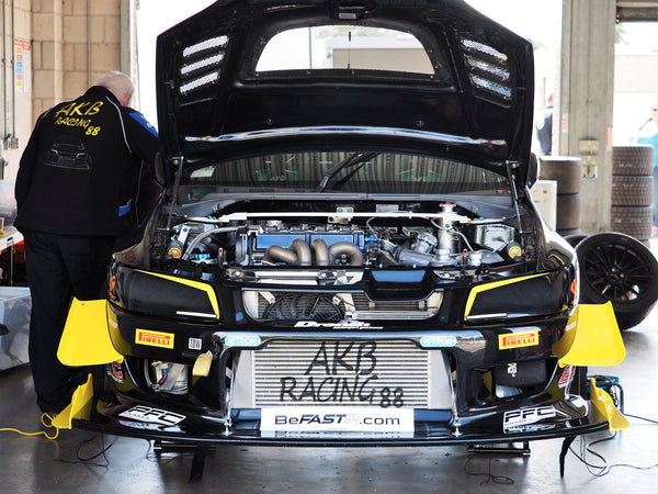 AKB Racing Mitsubishi Evo IX front shot in pit garage at Time attack Oulton Park 2018