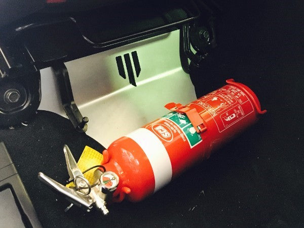 Track day fire extinguisher
