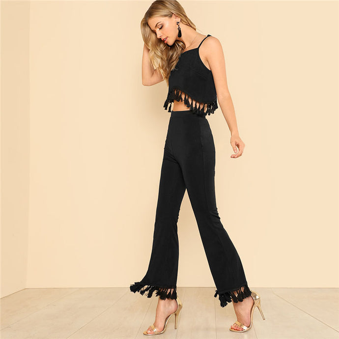 Flare & Tassel Crop Top & Pants Set - Nymph & Co