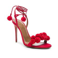 Pom Pom Lace Up Heeled Sandals - Nymph & Co