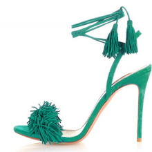 Fringin' Lace Up Heeled Sandals - Nymph & Co