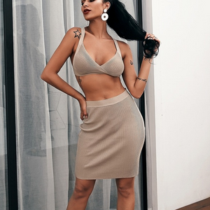 Rochelle Ribbed Two Piece Crop Top & Skirt Set - Nymph & Co