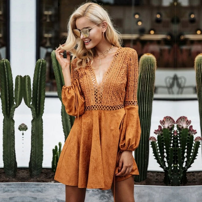 Ariel Autumn Lace Suede Dress - Nymph & Co