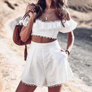 Osha Off Shoulder Two Piece Crop Top and Shorts Set - Nymph & Co