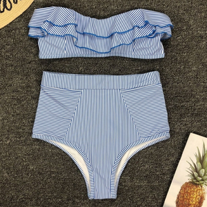 Ay Sailor Ruffle High Waisted Two Piece Swimsuit - Nymph & Co