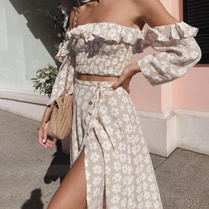 Stephanie Off Shoulder Crop Top & Skirt Set - Nymph & Co