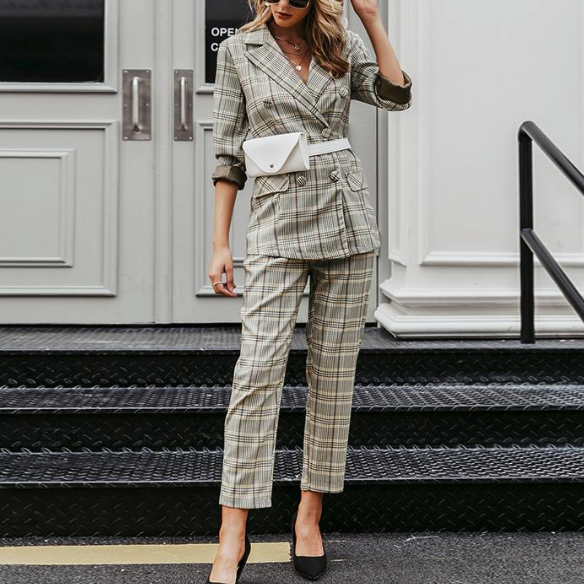 Plis Plaid Double Breasted Two Piece Suit - Nymph & Co