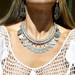 Ethnic Gypsy Bib Coin Necklace - Nymph & Co