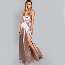 Plunge Neck Satin Dress with High Slit in Pink Nude - Nymph & Co