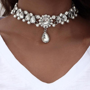 Crystal and Pearl Drops Choker - Nymph & Co
