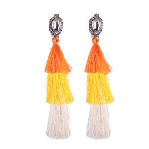 Long Tassel Earrings with Stone Accent - Nymph & Co