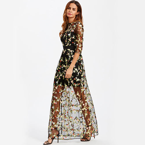 Give Me Flowers Embroidered Mesh Long Dress - Nymph & Co