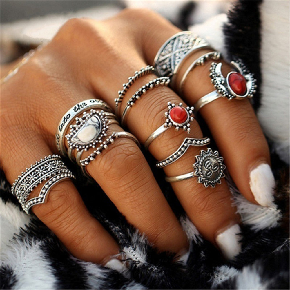 Bohemian Silver Stack Rings with Red & White Stones - Nymph & Co