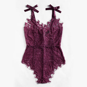 Purple Floral Lace Bodysuit with Bow Tie Shoulder - Nymph & Co