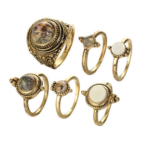 Opal Antique Gold Ring Set - Nymph & Co