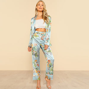 Silk In The Tropics Blazer & Pants Set - Nymph & Co