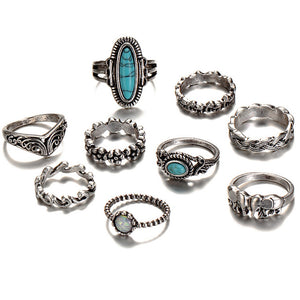 Vintage Style Carved Ring Set - Nymph & Co